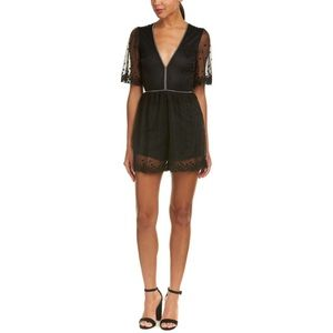 Honey Punch Black Star Mesh Romper Size M  NWT